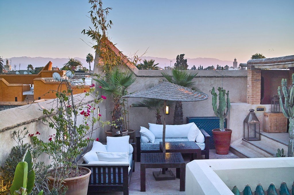Rooftop restaurant with Marrakech views.