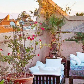 Enjoy the view over Marrakech Medina from the the riad rooftop.