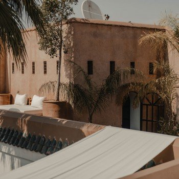 View from the rooftop on one the patios of the riad.