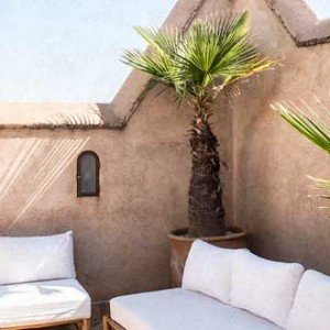 Sofa at the rooftop bar of our Marrakech' riad.