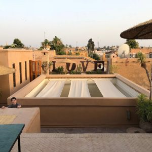 Evening view on the rooftops of Marrakech, Morocco.