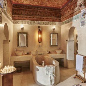Luxury bathroom at romantic weekend in Marrakech.