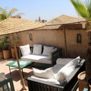 Seats at the rooftop bar in Marrakech.